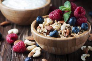 Homemade muesli with berry and nuts, selective focus